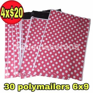 30 poly mailers 6x9 pink with whote polka dot